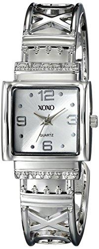 XOXO Women's XO1086 Silver Dial Silver-tone Bangle Watch (Square Bangle Watch)