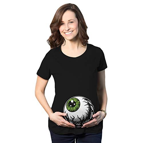 Crazy Dog T-Shirts Maternity Eyeball Funny Halloween Costume Tee Pregnancy Announcement Baby Bump T Shirt (Black) - M -