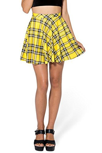Asher Fashion Womens Summer Plus Size Stretchy Plaid Print Pleated Mini Skirts(4XL, (Check Print Skirt)