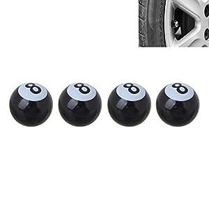 4 Stück 8 Billard Kugel Ball Ventilkappen für Autos PKW LKW Motorrad - 1A