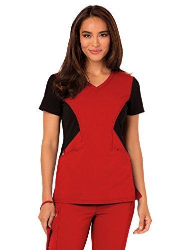 Careisma Women's Sofia V-Neck Solid Scrub Top, Red, Large
