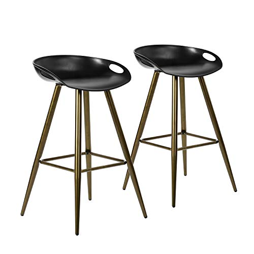 Set of 2 Bar Stools, 32.3-inch Simple Modern Style High Counter Stool with Low Backrest & Footrest & Metal Legs & PP…