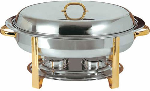 Update International (DC-3) 6 Qt Stainless Steel Oval Gold-Accented Chafer (Oval Chafer)