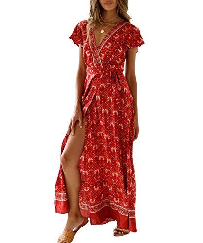 Frill Sleeve Dress - LOVINO Maxi Dresses for Women Summer Bohemian Floral Dress Wrap V Neck Short Sleeve Split Flowy Beach Party Maxi Dress Wine Red Small