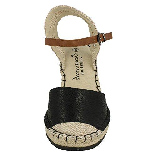 Savannah ,  Damen Durchgängies Plateau Sandalen mit Keilabsatz Schwarz