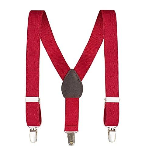 (kid N' me Kids and baby Adjustable Elastic Solid Supenders Red, 22 Inch)