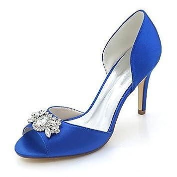 b3274d599fbf Wuyulunbi  Damenschuhe Satin Frühling Sommer Basic Pumpe Hochzeit Schuhe  Stiletto Heel Peep Toe Strass für