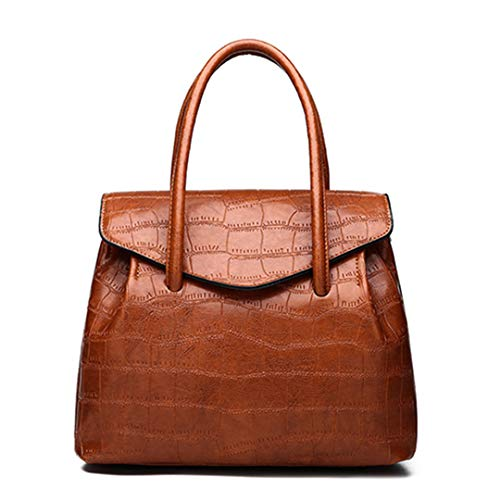 Retro Oil Wax PU Leather Women Handbag Lady Alligator Bag Patchwork Shoulder Bags Women Large Capacity brown Beautiful bag