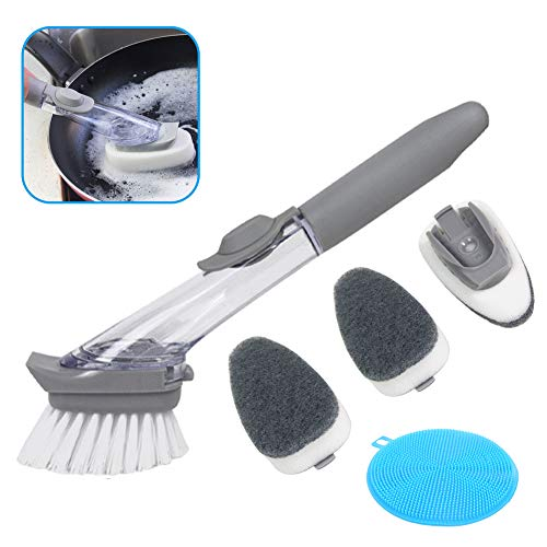 Apusale-Soap Dispenser Brush Heavy Duty Dish Wand Sponge For Kitchen Sink Cleaning Brush With(1 Dishwands and 2 Refill Replacement Heads and 2 Silicone Cleaning ()