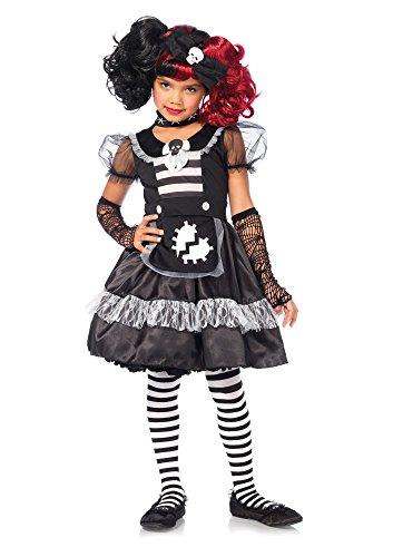 2 PC. Girls' Rebel Rag Doll Dress - Medium - Black/White ()