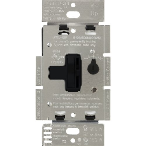 Slide Dimmer Switch 3 Way - Lutron Toggler C.L Dimmer Switch for dimmable LED, Halogen and Incandescent Bulbs, Single-Pole or 3-Way, AYCL-153P-BL, Black