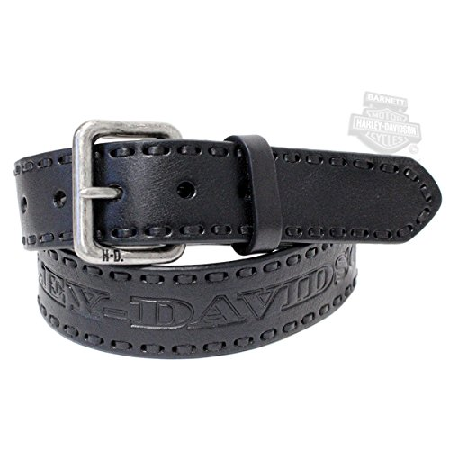 Harley Davidson Mens Embossed Black Leather