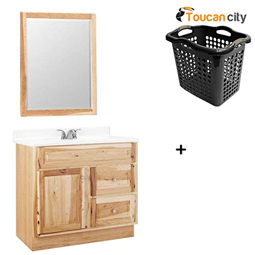 - Toucan City Laundry Basket and Glacier Bay Hampton 36 in. W x 21 in. D x 33.5 in. H Bath Vanity Cabinet Only with Mirror in Natural Hickory HM36-HK