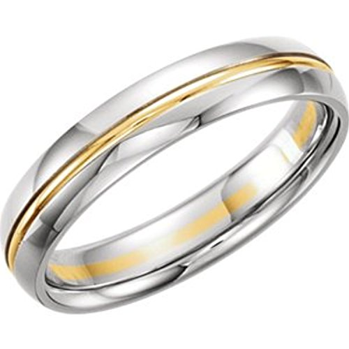- 14K White Yellow Gold Two Tone Design Duo Band, Size: 11