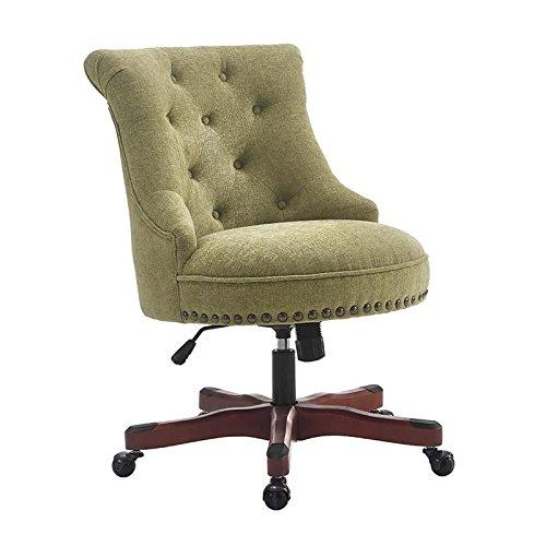 Sinclair Office Chair Green - Dark Walnut Wood Base