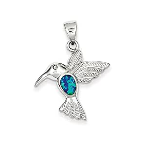 Sterling Silver Blue Inlay Created Opal Hummingbird Pendant,