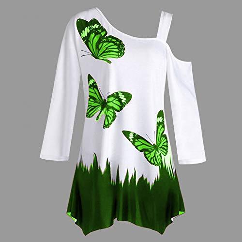 Longue Blouse paule Chic SANFASHION Haut Papillon Mode Tshirt Vert Femme Imprim Dnud Manche Top 1wvRYq