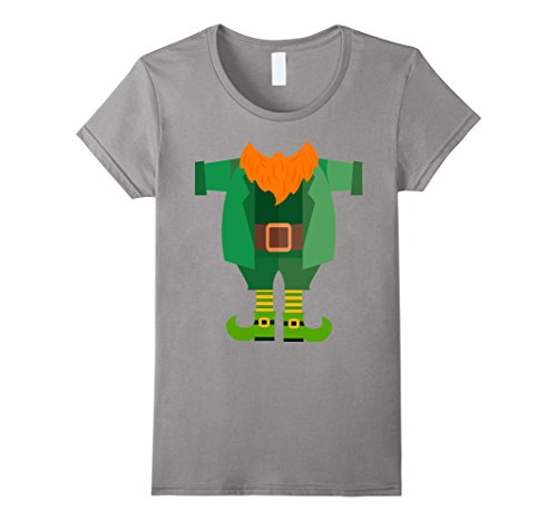 [Women's Saint Patrick Leprechaun Body Costume T-shirt Large Slate] (Mr T Costumes)
