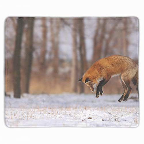 Personalized Rectangle Mouse Pad,Printed Fox Jump Hunt Snow Winter Field Forest Tree Computer Mouse Pad 11.8-inch by 9.85-inch ()