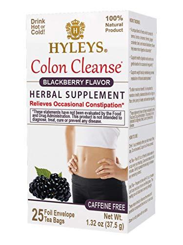 Hyleys Wellness Colon Cleanse Blackberry Tea - 25 Tea Bags (GMO-Free, Caffeine-Free, Gluten-Free, Dairy-Free, Sugar-Free and 100% Natural)