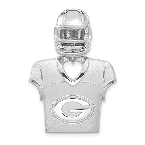 NFL Sterling Silver Green Bay Packers Jersey and Helmet Pendant