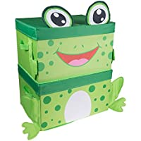 Cute Frog Stackable Storage Organizer by Clever Creations | Collapsible Storage Box for Any Room | Perfect Size Chest for Organizing Dog Toys, Clothes, Shoes and More!