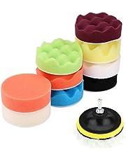 BORDSTRACT 12 stuks 3 inch polijstpads, spons voor autoschuim, opzetstuk voor boren, wol polijsten waxen, polijstpads, kit voor het polijsten van auto's, slijpen, waxen