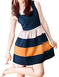 Allegra K Women Stripe Sleeveless Colorblock Short Skater Mini Tank Dress