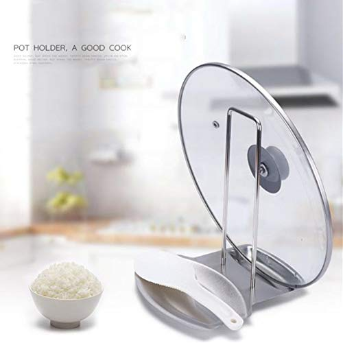 Lid and Spoon Rest,Stainless Steel Kitchen Utensils Holders Pan Pot Cover Lid Rack, Heat-resistant Home Appliance Stand Holder Organizer for Pots Pans Spoons