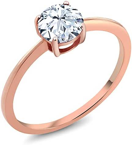 1.20 Ct Round Hearts and Arrows White Created Sapphire Rose Gold Ring