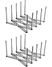 Rfvtgb 2 Pack Extendable Pot Lid Holders Multipurpose Steamer Rack Pans Glasses Holder Flexible Plate Organizer Kitchen Bakeware Cutting Board Drying Rack for Cabinet Pantry (2Pcs)
