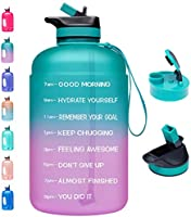 Venture Pal Large 1 Gallon Motivational Water Bottle with 2 Lids (Chug and Straw), Leakproof BPA Free Tritan Sports Water...
