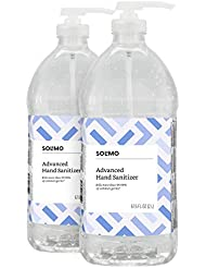 Amazon Brand - Solimo Advanced Hand Sanitizer with Vitamin E, Original Scent, Pump Bottle, 67.59 Fluid Ounce (Pack of 2)