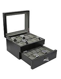 Tech Swiss TSBOX20ESSBK- 20 Watch Box Black Wood Finish Large Compartments