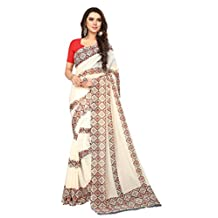 Shonaya Women`S Party Wear Georgette Printed Saree With Unstitched Blouse Piece (White)