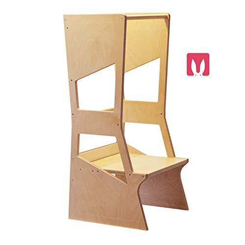 Bianconiglio Kids ® Moka 2.0 Torre de aprendizaje Montessori regulable en altura hecho en Italia (TRANSPARENTE)