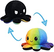 TeeTurtle   The Original Reversible Octopus Plushie   Patented Design   Black and Rainbow   Happy + Angry   Sh