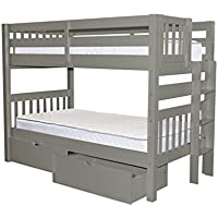 Bedz King Bunk Beds Twin over Twin Mission Style with End Ladder and 2 Under Bed Drawers, Gray