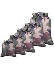 Tangger 5 PCS Outdoor Dry Bag wasserdichte Taschen Kleidertasche Handytasche Camouflage wasserdichte Reiseaufbewahrungstasche für Driften Rudern