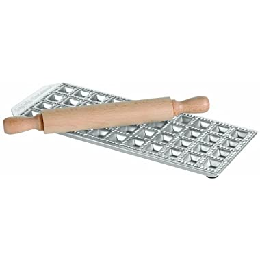 Paderno World Cuisine 24-Imprint Ravioli Mold and Rolling Pin Set