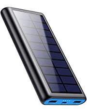 Solar Charger Power Bank 26800mah, 2 USB Output Fast Phone Portable Charger Power Bank Solar Battery Bank Pack External Backup Pack Cell Phone for iPhone, Samsung Galaxy Android, iPad Tablet[2020 Newest Design]