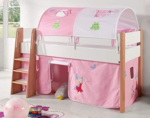 Froschkönig24 Hochbett SAM 3 Kinderbett Spielbett halbhohes Bett Buche Weiß Stoff Prinzessin, Matratze ohne