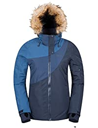 Mountain Warehouse Lelex Women's Ski Jacket - Breathable, Taped Seams, Waterproof IsoDry Fabric with Recco Reflectors, Adjustable Hood & Snowskirt, 4 Pockets