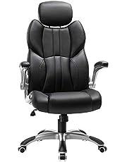 SONGMICS kontorsstol, ergonomisk svängstol, med vikbara armstöd, nylonstjärnsbas, lastkapacitet 150 kg, svart OBG65BK