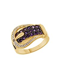 Round Cut Amethyst & White Topaz Buckle Ring in 14k Gold Over Sterling Silver (0.67 Cttw)