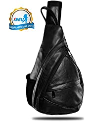 Best Deal! Leather Sling Bag Backpack, Multipurpose Outdoor Chest Bag Crossbody Bag for Men & Women 15L