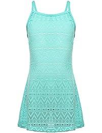 BELLOO Childs Girl Blue Cover ups Swimsuits, Beachwear Crochet Dress Bathing Suits for Girls 14-16