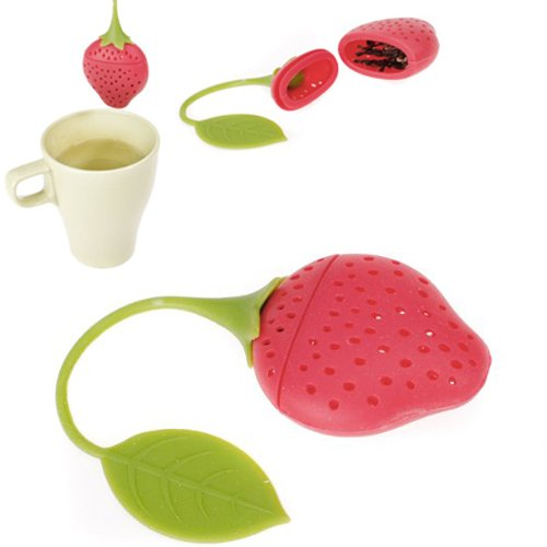Sonado Strawberry Design Silicone Tea Infuser Strainer - Red and Green / Suitable for Use in Teapot, Teacup and More--A Wonderful Gift for An Avid Tea Drinker (1, A)