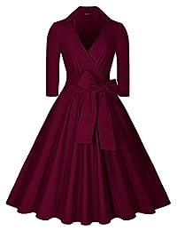 Miusol Women's Vintage Deep-V Neck Half Sleeve Bow Belt Casual Swing Dress