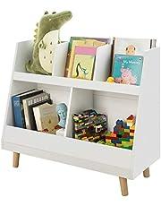 SoBuy KMB19-W,Children Kids Storage Bookcase,Book Shelf and Toy Bin Organizer,White